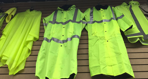 High Visbility Neon Green Rain Jackets, Rain Suits, Ponchos