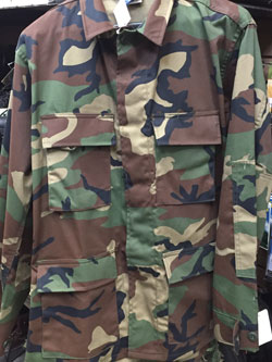 Woodland Camouflage Military BDU Shirt Jacket 4 Pocket